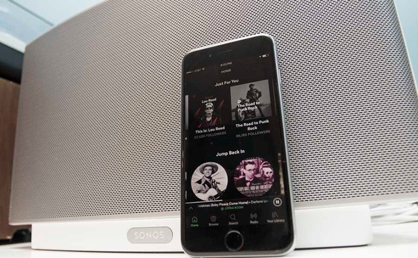 iPhone running Spotify with Sonos Play:5 speaker