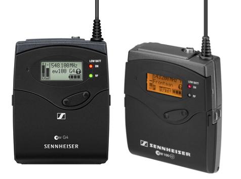 The new Sennheiser EK 100 G4 camera-mountable receiver beside the old EK 100 G3 receiver