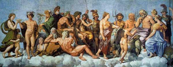 Concilio de los Dioses en el Olimpo. Rafael Sanzio. 1513-14