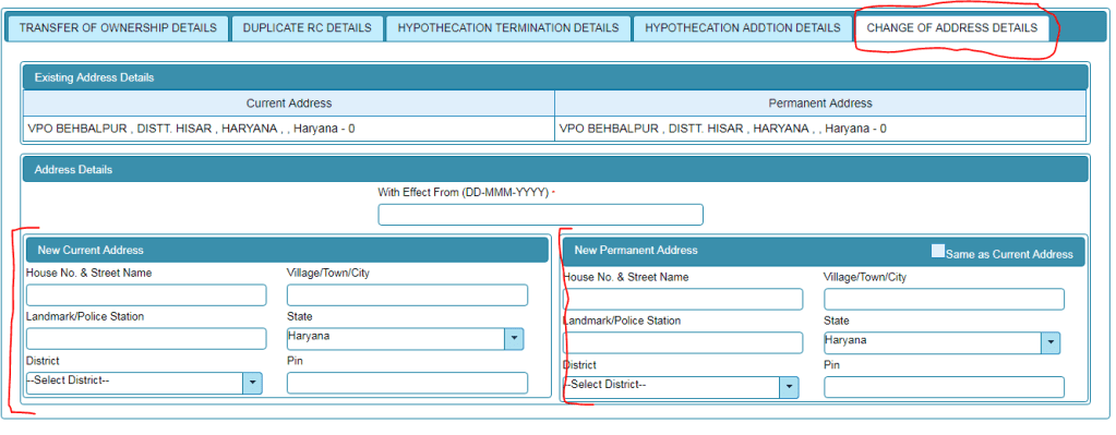 how to change address in rc book online