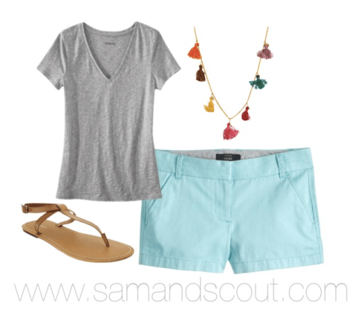 "Plain Tee + Colored Chinos + Statement Necklace + Neutral Sandals = My Standard Summer ""Uniform"""