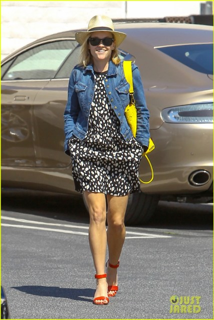 March 2014 - Dotted dress, denim jacket, and bright accessories
