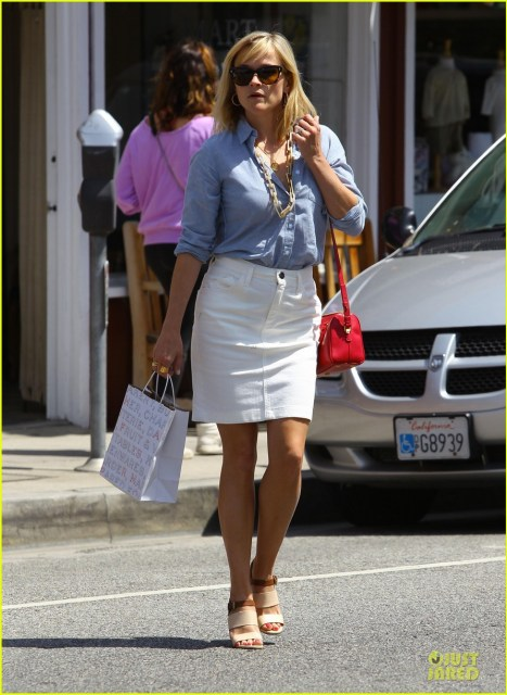 White denim pencil skirt, chambray top (YES), and chunky necklace.  (Photo from JustJared.com)