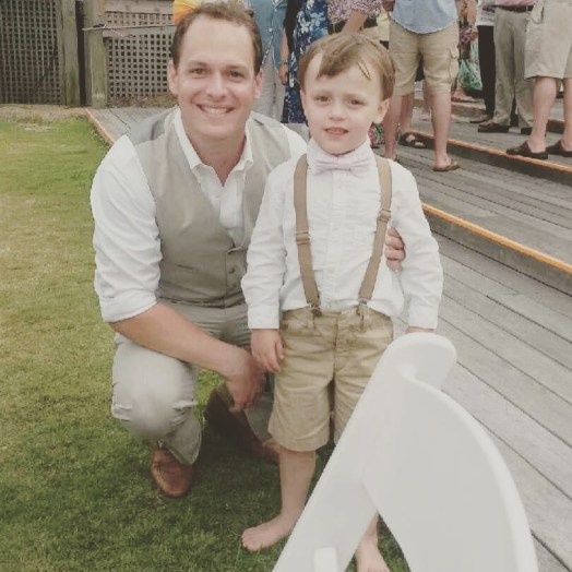 My handsome boys. (Nora slept through the entire event.)