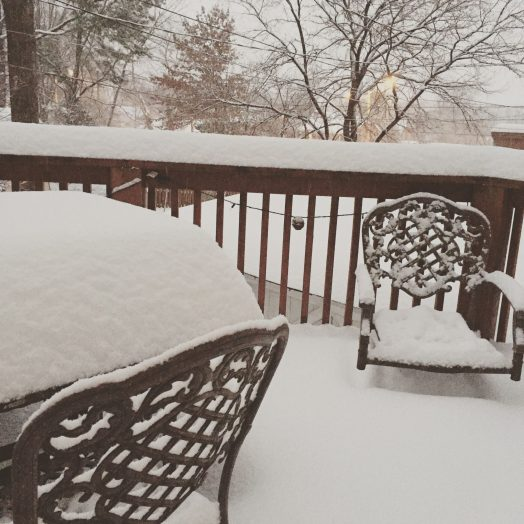 My back deck this morning - about 1' of snow and still coming down. :)