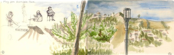 "Barnsdall park is quite close to Matt's old place. We would go there sometimes to have ""art time"" (he writes i draw)."