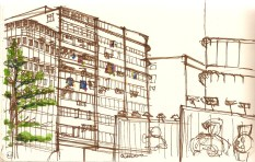 sketch of Hong Kong appartment building with laundry hanging.