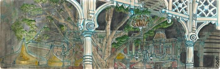 sketch of a Disneyland cafe