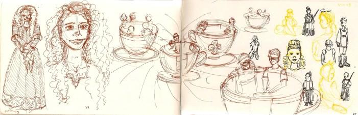 sketch of teacup ride at Disneyland