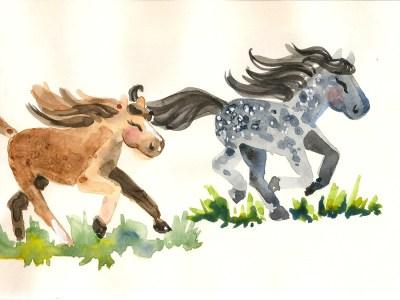 watercolored ponies