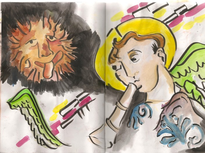 sketch of stained glass windows, lion and angel making funny faces