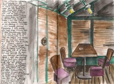 A sketch of the inside of a restaurant in Paris
