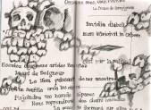 sketches of bones in the catacombs under Paris