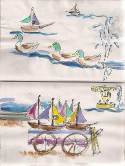 ink and watercolor sketch of ducks and boats in Paris