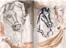 sketches of a statue of a horse