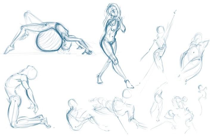 digital figure drawings on a cintiq