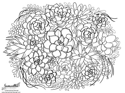 black and white line art of succulents on a letter size piece of paper