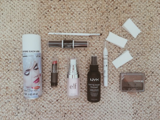 Flatlay of make up products used for DIY costume