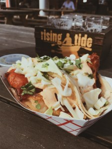 Two fish tacos from El Corazon food truck at Rising Tide Brewing Company in Portland
