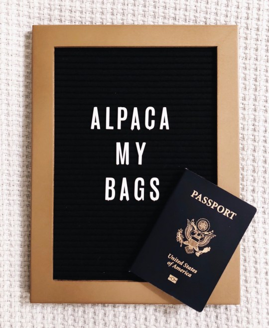 """Letter board with """"Alpaca My Bags"""" and passport - travel 2018"""