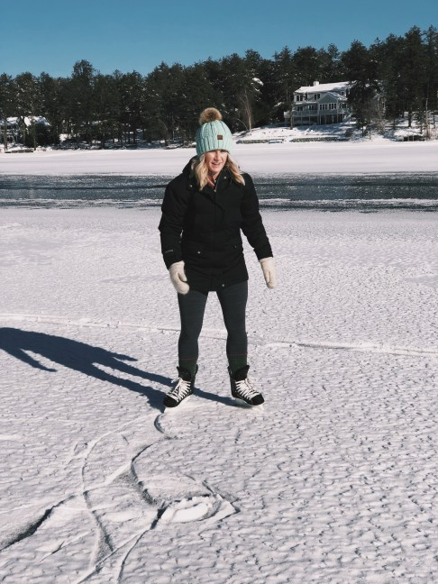 Ice skating on Ossipee Lake for the New Year
