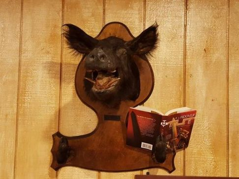 Lodge of Death boar reading P.J. Hoover's TUT.