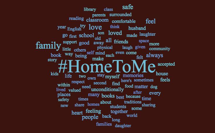 #HomeToMe word cloud