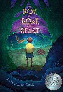 The Boy, The Boat, and The Beast with SCBWI Crystal Kite Award medal