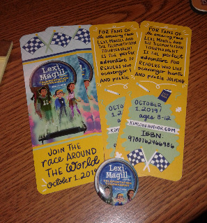 Bookmarks and pin for LEXI MAGILL AND THE TELEPORTATION TOURNAMENT by Kim Long