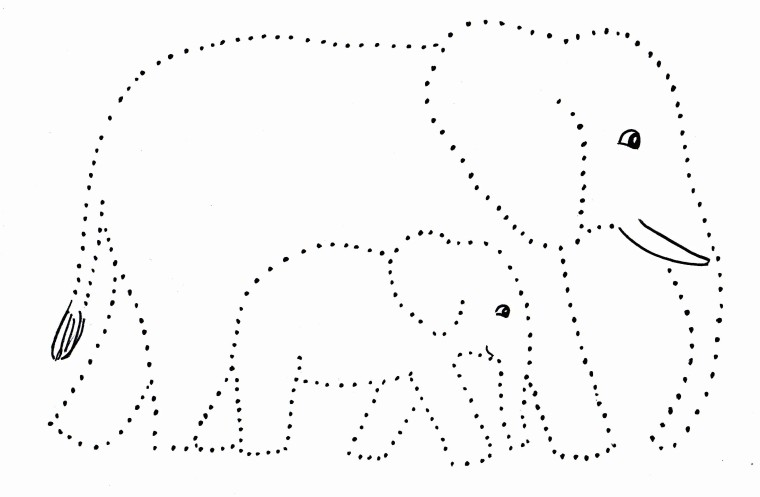 Elephant And Baby Dot Drawing Art Starts