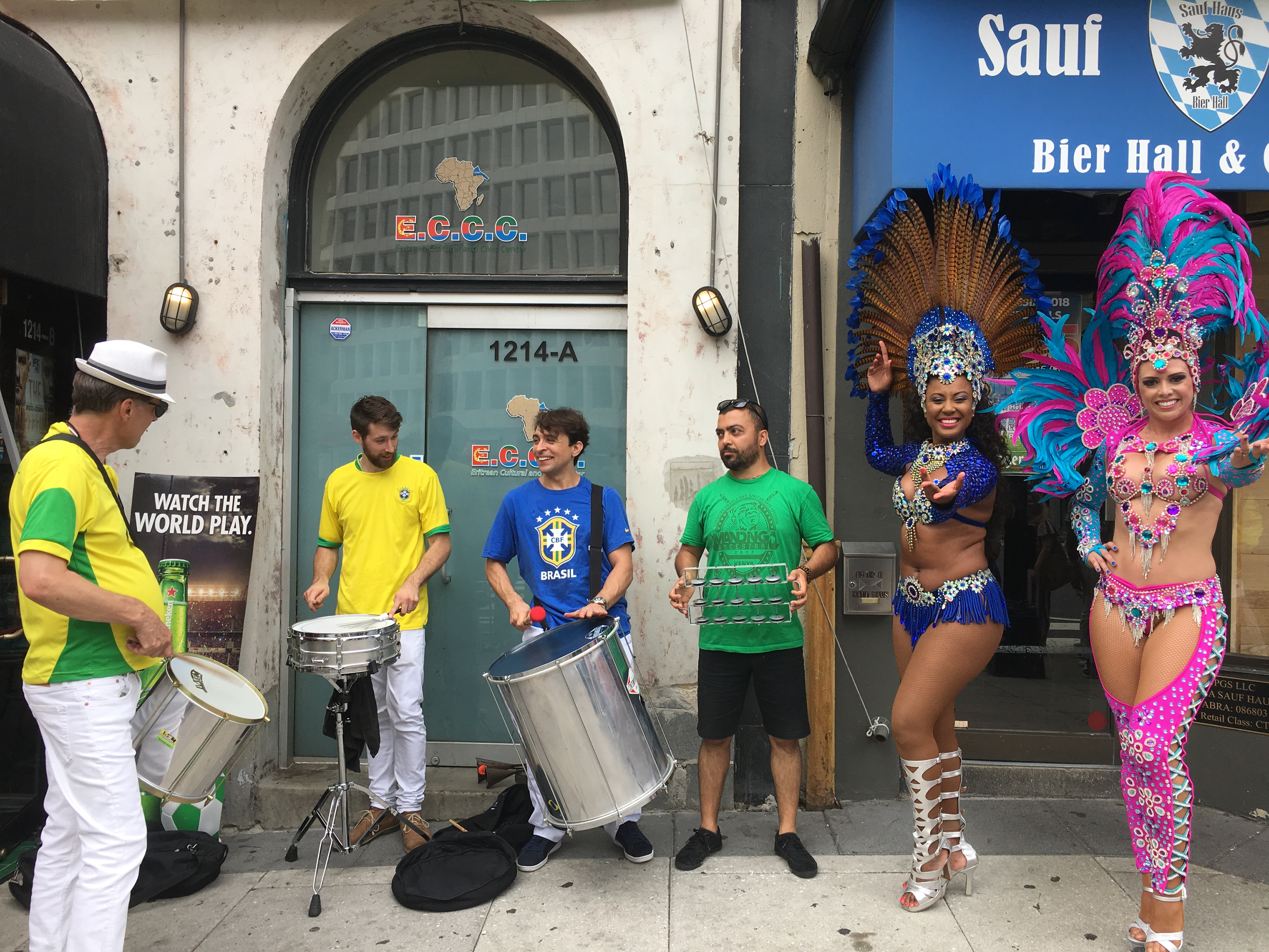 Dancing and drumming outside of Public Bar before the game