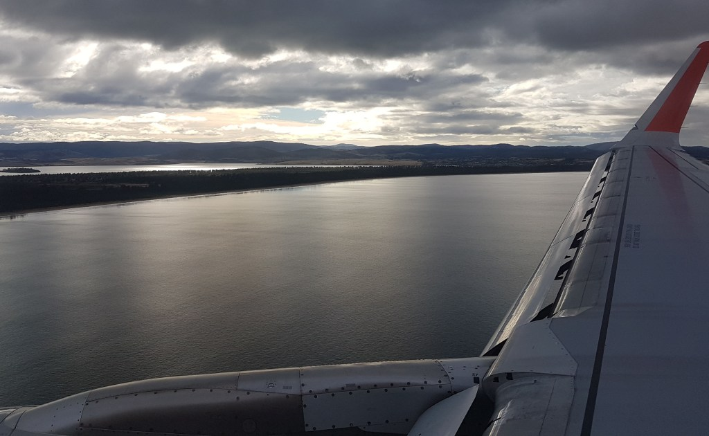 Flying in to Hobart, Tasmania