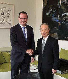 Deputy Prime Minister Zwiefelhofer and Samco CEO Tsuji
