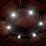 Wooden roof lighting by Sam Coles Lighting 01