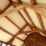 Roof lighting with wooden beams by Sam Coles Lighting 02