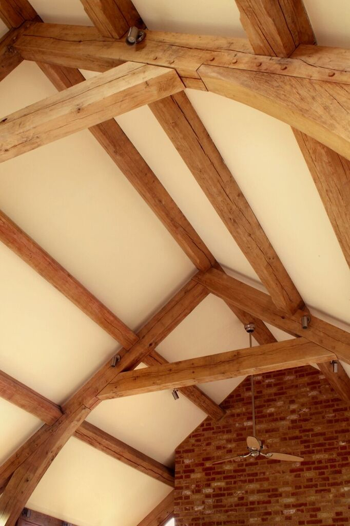 Roof lighting with wooden beams by Sam Coles Lighting 01