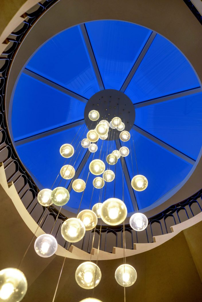 Stairway Light under glass dome