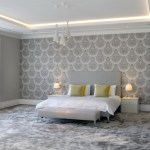 Bedroom with coffer ceiling LED lighting