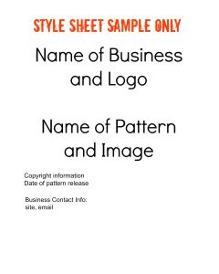 Style Sheet Cover Page