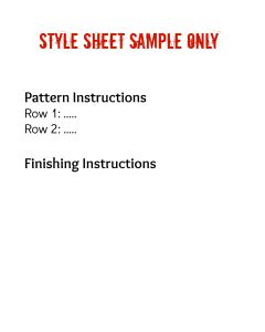 Style Sheet Pattern Instructions