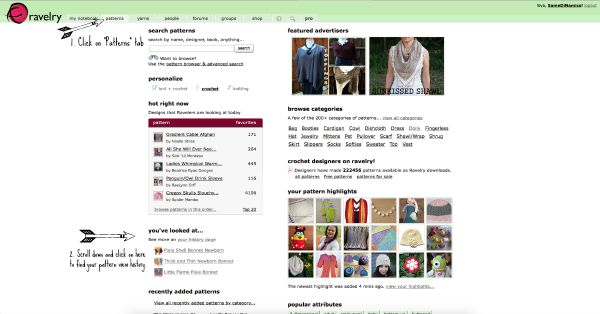 Ravelry History Pages Screen Shot