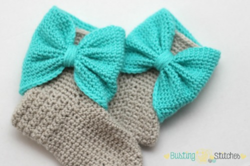 Crochet Bow Cuff Slippers