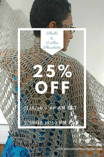 Shells & Trebles Shawlette on sale from 7/28/2016 (9am EST) to 7/30/2016 (11:59pm EST) on Ravelry