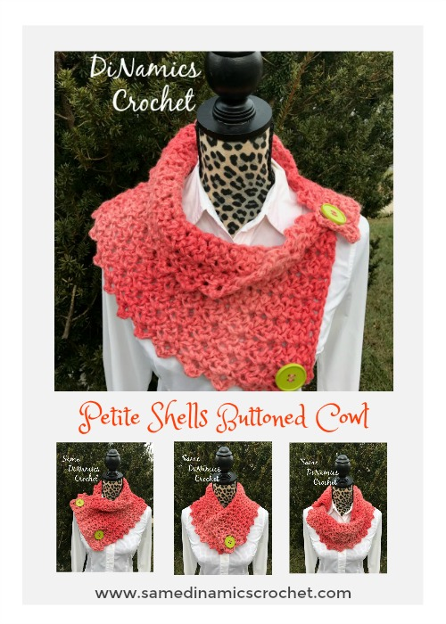 This Petite Shell Buttoned Cowl fits wonderfully over or under your coat. It will keep you warm and stylish.