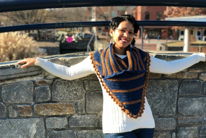 Blues and Brass Bandana Cowl Free Crochet Pattern