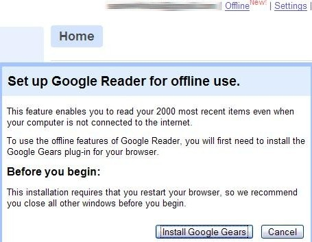 Google Reader with Google Gears