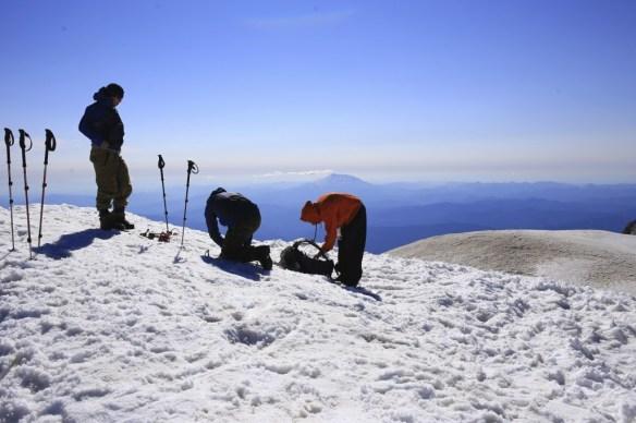 Heap of snow creates a higher summit