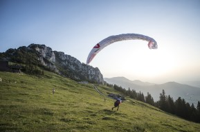Stephan Gruber (AUT3) performs during the Red Bull X-Alps at Aschau-Chiemsee (turn point 3), Germany on 5th July 2015 // Kelvin Trautman / Red Bull Content Pool // P-20150706-00098 // Usage for editorial use only // Please go to www.redbullcontentpool.com for further information. //