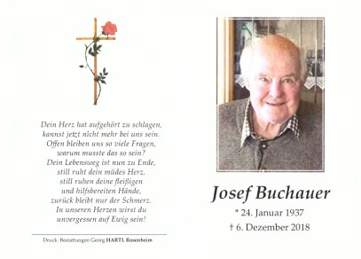 Sterbebild Josef Buchauer