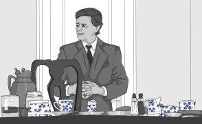 "Eingangsszene aus Loriots ""Pappa ante Portas"" (1991, © Rialto Film GmbH) Zeichner: Jennifer Rödel / Annika Linhardt / Leslie-Ann Röser / Jessica Sundermann / Sophia Bock. Grafik / Layout: Hannah Beer / Lea Wießmann / Marie Schaffer. © Porzellanikon"